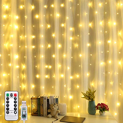 AMIR Upgraded Curtain String Lights, 304 LED USB Powered String Lights, 8 Lighting Modes Icicle Lights, Indoor Outdoor Decorative Lights for Wedding, Homes, Party, Bedroom, Garden (9.8 x 9.8 ft)