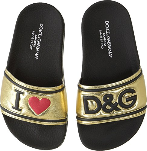 Dolce & Gabbana Kids Girl's Gold Slide (Little Kid) Gold 28 M - Gabbana Shoes Gold Dolce And
