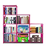 Bookshelf with 3-Tier 9-grid Storage Closet Organizer Shelf, Cabinet Bookcase Kids Office Bookshelf Closet Shelf Home Furniture Storage Pink (US STOCK)