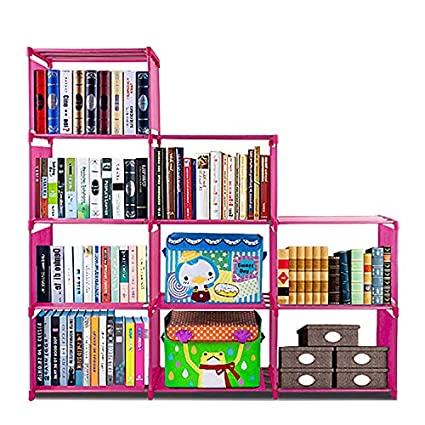 Bookshelf With 3 Tier 9 Grid Storage Closet Organizer Shelf Cabinet Bookcase Kids