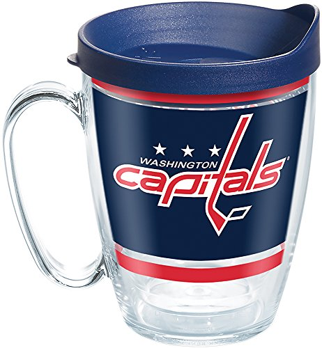 Tervis 1276818 NHL Washington Capitals Legend Tumbler with Wrap and Navy Lid 16oz Mug, Clear