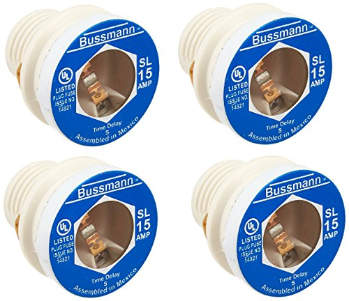 Bussmann SL-15 Low Voltage Medium Duty Time Delay Plug Fuse, 125 Vac, 15 A, 10 Ka ()