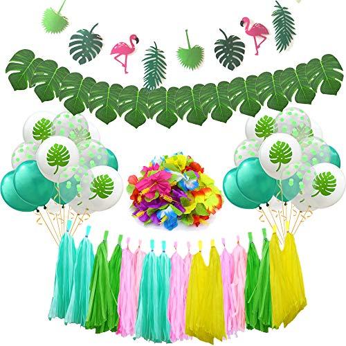 Theme Tropical (87pcs Tropical Hawaiian Jungle Party Decoration Set, Tropical Leaves Flamingo Banner, Hawaiian Latex Balloons for Jungle Beach Pool Theme Summer Birthday Baby Shower Party Supplies)