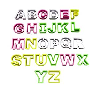 26 Piece Multi-Coloured Plastic Alphabet Biscuit Pastry Cookie Cutter Set by KurtzyTM