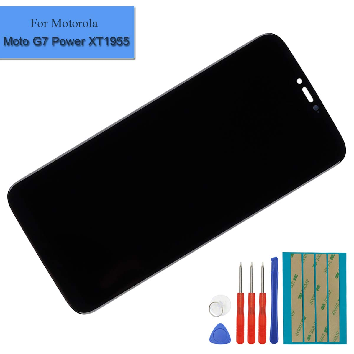 Replacement LCD Display Compatible for Motorola Moto G7 Power XT1955 6.2'' LCD Touch Screen Digitizer Assembly with Adhesive and Toolkit (Black) by E-YIIVIIL