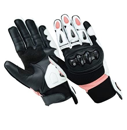 Womens Black Short Cuff Leather Cruiser Motorcycle/Motorbike Gloves XS to XL Texpeed G-WM-BK-P-M