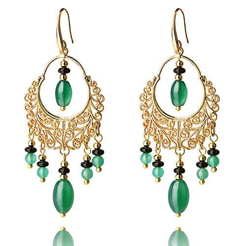 (ANDANTINO Women's 14K Gold Plated Ethnic Piercing Earrings Retro Style Jewelry, Handcrafted Temperament Vintage Ear Hook- Long Dangle Ear Drop for Girls (Bohemian Style Ear Hook) )