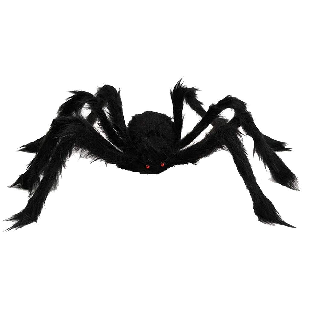 Halloween Giant Spider FunDiscount shop 30 Inch Large Fake Spider Halloween Decorations Scary Creepy Black Hairy Spider Props for Indoor Outdoor Patio Yard Garden House Party Decor Black