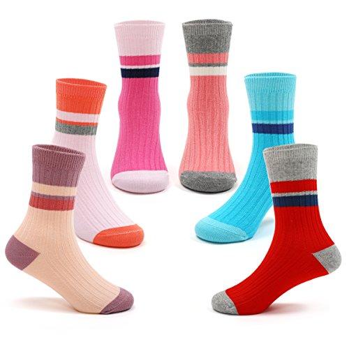 Girls Cotton Crew Seamless Socks Kids Toddler Stripe Socks (6 Pack)