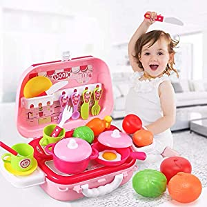 SUPER-ELE Toy Kitchen Sets,Kids Cooking Pretend Toys,Play Cooking Set, Cookware Pots and Pans Playset,Mini Chef Pretend…
