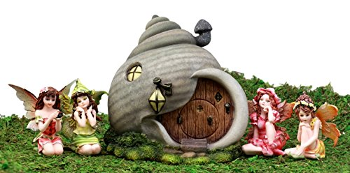 Ebros Gift Enchanted Fairy Garden Miniatures Starter Kit Cottage House With Mini Fairy Figurines Do It Yourself Ideas For Your Home (Helix Snail House Kit)