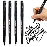 Refillable Brush Marker Pens for Hand Lettering - 4 Size Black Calligraphy Ink Pen for Beginners Writing, Signature, Illustration, Design