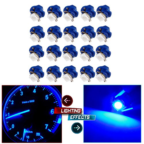 Mountaineers Rotating Lamp - cciyu 20 Pack Purple Blue Car T5 B8.4D 5050 1SMD LED Lamps Dashboard Side Indicator Lights