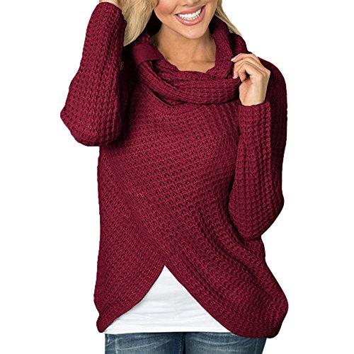 ❤ Camisa de Rebeca de Cuello Irregular de Manga Larga para Mujer Camisa sólida Sudadera Pullover Blusa Camisa Absolute: Amazon.es: Ropa y accesorios