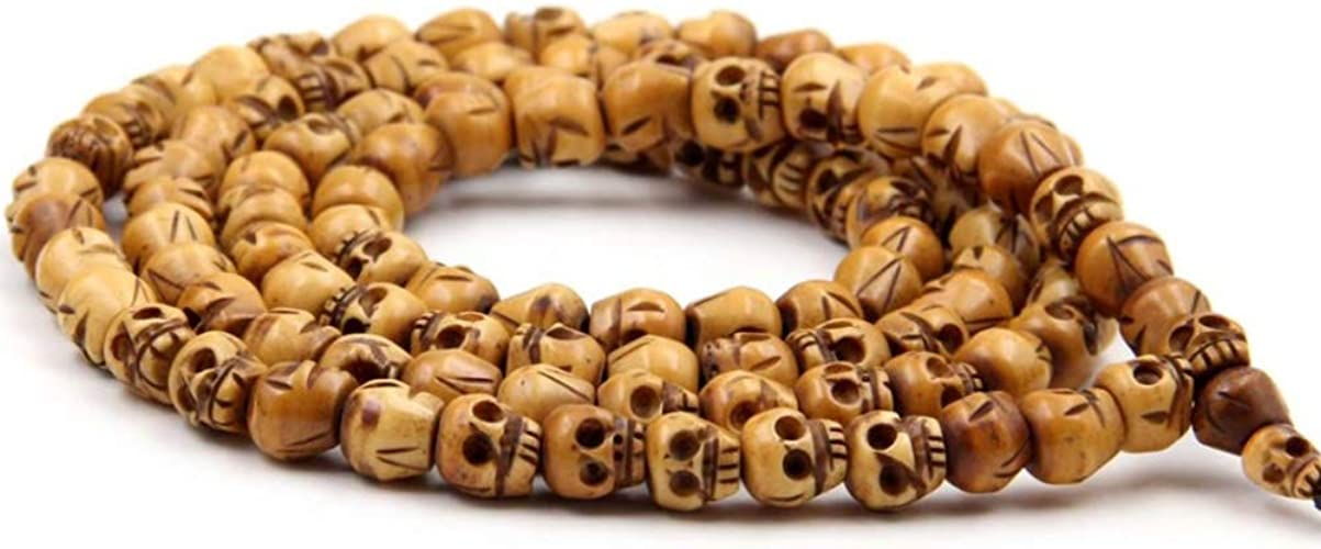 Amazon Com Eastcode 108 Beads Buddhist Tibetan Carved Skull Grains Of Natural Bone Carved Skulls Beads Rosary Necklaces Jewelry