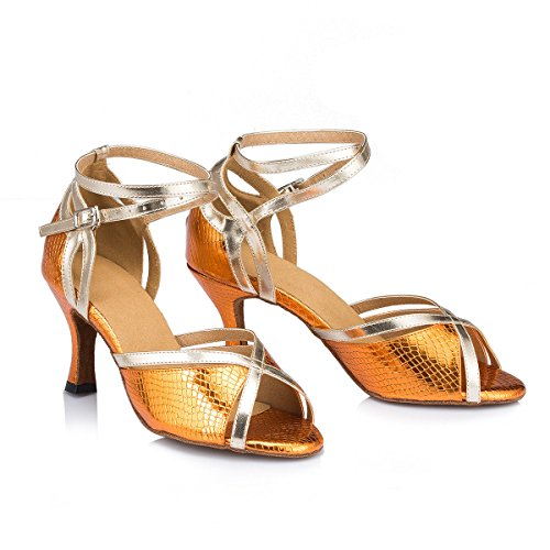 Orange Femmes EU42 Our43 Cow De 5 Tango UK7 Buckle Heel Chaussures Danse De Mode Sandals Strappy Latine Womens Danse Ankle Ballroom Leather DQuietness Salsa Suede Chunky px41ddSq