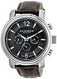 Akribos XXIV Men's AK734SSBR Swiss Quartz Movement Watch with Dark Gray Dial and Brown Genuine Leather Strap