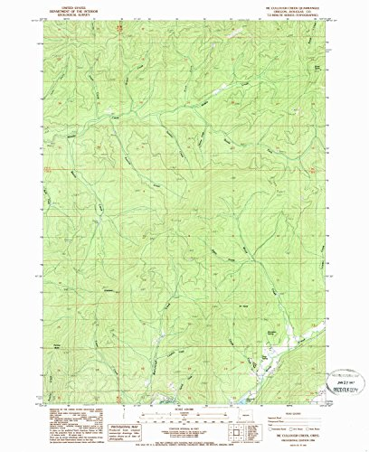 YellowMaps Mc Cullough Creek OR topo map, 1:24000 Scale, 7.5 X 7.5 Minute, Historical, 1986, Updated 1986, 26.8 x 21.9 in - Paper