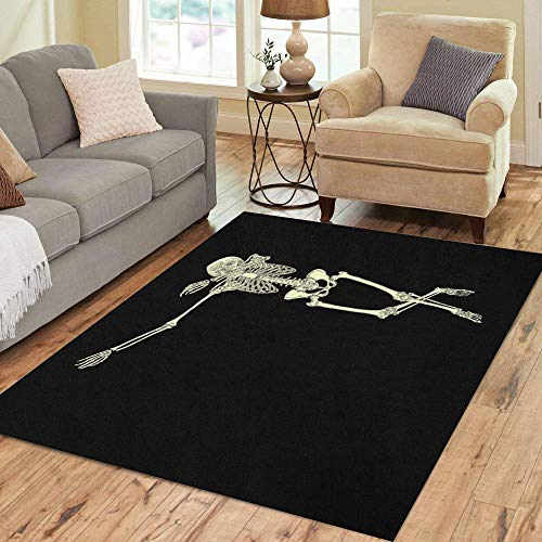 Semtomn Area Rug 3' X 5' Halloween Human Skeleton Posing Dab Perform Dabbing Dance Move Gesture Home Decor Collection Floor Rugs Carpet for Living Room Bedroom Dining -