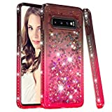 Samsung S10 Bling Colorful Case,Aulzaju Galaxy S10 Crystal Creative Silicone Case Soft Slim Moving Liquid Shiny Shockproof Case for S10 for Girls Women-Gray Pink