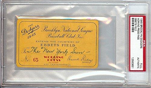 1945 Brooklyn Dodgers Unsigned Press Club Pass Rare Slabbed PSA