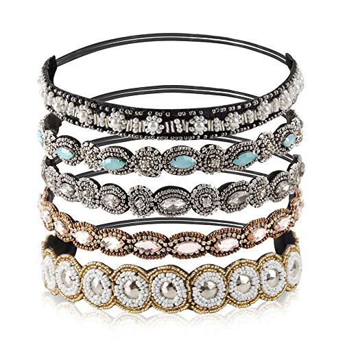 Teenitor Rhinestone Beaded Elastic Headband, Fashionable Handmade Crystal Beaded Elastic hairbands Lady Women Girls Hair Jewelry Accessories, 20-26.8 Fits for Most, 5 Pieces