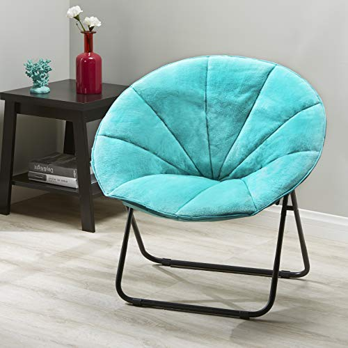 Cheap Mainstay Plush Saucer Chair, Multiple Colors (Spearmint) + Free Soft Toss Pillow