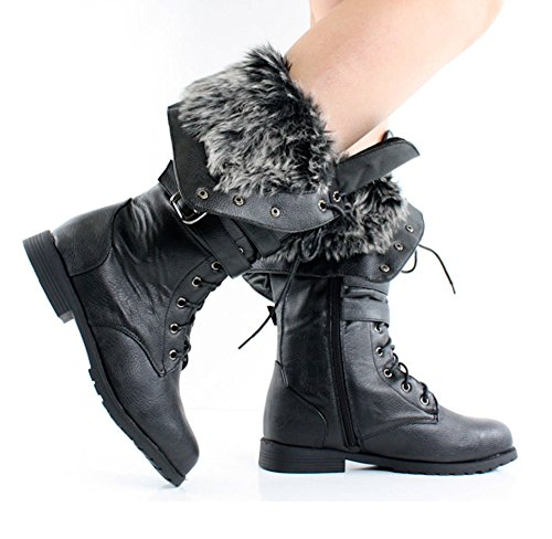 Women's Knee High Lace Up Faux Fur Winter Boots in Black, Br