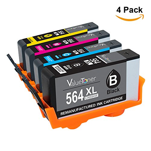 Valuetoner Remanufactured Ink Cartridge Replacement for HP 564 564XL (Black / Cyan / Magenta / Yellow) 4 Pack Compatible for Officejet 4620 4622 Deskjet 3070a 3520 3521 3522 3526 Printer (Hp C410 Photosmart Printer)