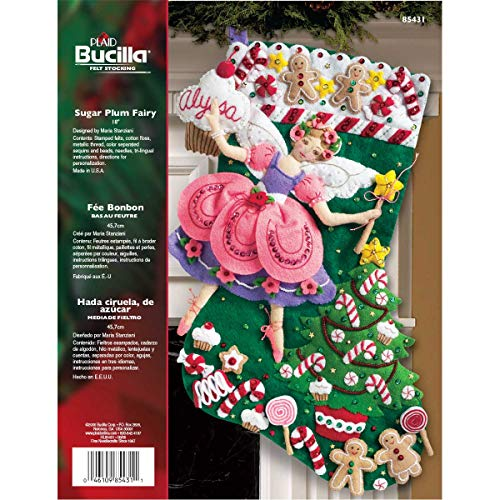 (Bucilla 18-Inch Christmas Stocking Felt Applique Kit, 85431 Sugar Plum Fairy)