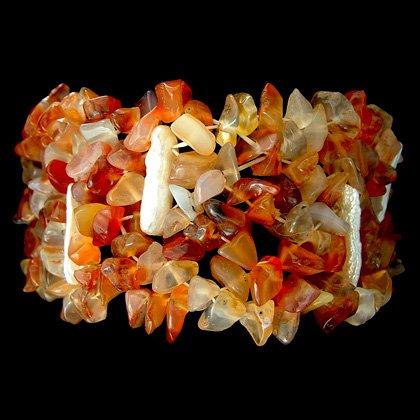 Shell & Carnelian Bracelet (Elasticated)