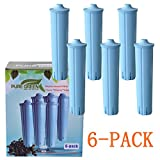 Blue Clearyl Coffee Machine Water Filter Cartridge - for Jura Capresso 71445 Automatic Coffee Maker and Espresso Center - Unbleached Set of 6 Fully Compatible Filter Pack - for Home And Kitchen Use