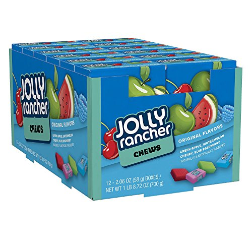JOLLY RANCHER Chews Candy, Assorted Original Flavors (Cherry, Watermelon, Blue Raspberry, Green Apple), 2.06 Ounce Box (Pack of 24 ) ()