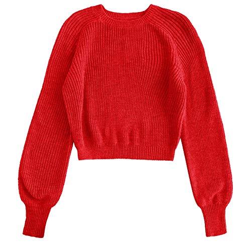 T Automne Femme Tricoté Rouge Pull Longue Manche shirt Chemise Rosegal aqwfpda
