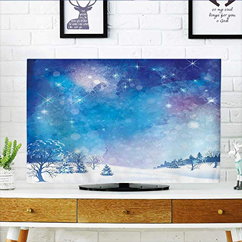 (Leighhome tv Protective Cover Themed Snow Winter Scenery Pine Trees and Dark Blue tv Protective Cover W20 x H40 INCH/TV 40