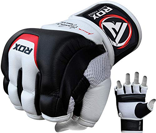 RDX Cow Hide Leather MMA Grappling Gloves UFC Cage Fighting Sparring Glove Training T3, X-Large, White ()