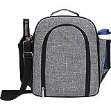 NiceEbag 4 Person Picnic Tote Bag Stylish Portable Picnic Basket Shoulder Bag With Detachable Shoulder Strap And Bottle/Wine Holder,Fleece Blanket Pocket, Perfect For Family Picnic (Grey)