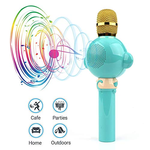 LingHui Kids Microphone Wireless Bluetooth Karaoke Microphone , 3-in-1 Portable Handheld Karaoke Mic Home Party Birthday Speaker Machine for iPhone/Android/iPad/Sony,PC and All Smartphone (Green) by LingHui (Image #3)