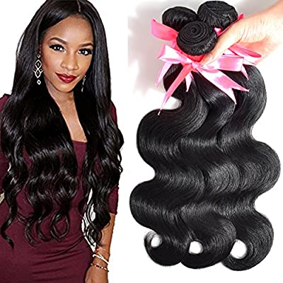 Lin Hair Unprocessed Virgin Brazilian Body Wave Human Hair Extensions Brazilian Natural Hair Weave Weft Bundles #1b