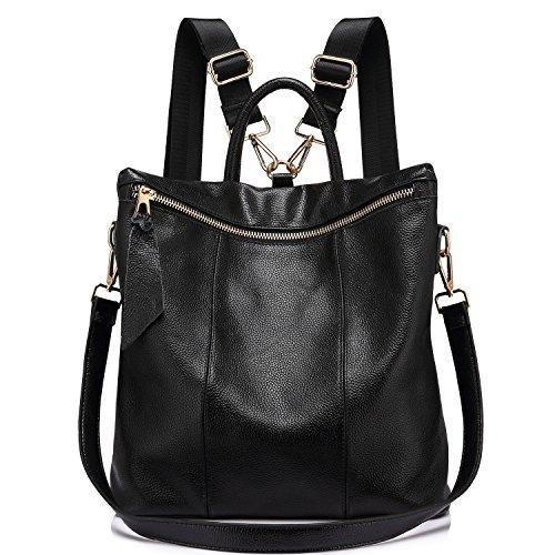 à dos marron à cuir college Noir grande femmes Elégant Mode femme Cartable main en Sacs véritable sac casual H0qw5wa