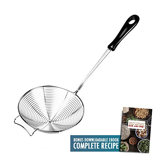 Asian Spider Kitchen Strainer 6.3'' Stainless Steel Cooking Spoon Wire Net Wok Colander Skimmer for Boiling Frying Drains Every Bits Spiral Mesh Food Strainer Heat Resistant PP Ladle Handle with Recipe by Kitchen Spider Strainer (Image #7)