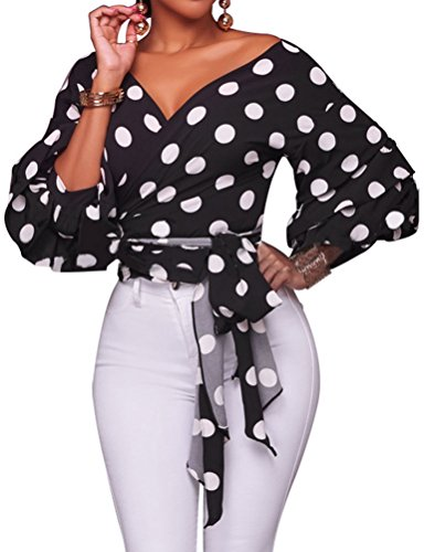 ZXZY Women Lantern Sleeve Polka Dots Printed V Neck Wrap Shirt Top Sexy Blouse Black ()