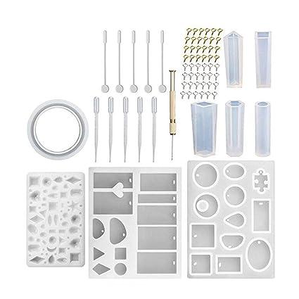 symboat 127pcs Moldeo resina silicona molde kit como molde de joyas de bricolaje manualidades para llavero