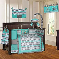 BabyFad Elephant Chevron Turquoise Unisex 10 Piece Baby Crib Bedding Set
