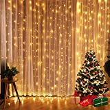Longans Fairy Curtain Lights, Fun Outdoor Festoon Lighting,8 Modes LED Curtain Strips Icicle String Lights for Bedroom Party Indoor Outdoor Garden Wall Wedding Christmas Xmas Decorations (Warm White)