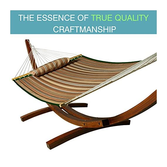 Lazy Daze Hammocks Quilted Fabric Double Hammock with Pillow, Spreader Bar Swing for Two Person, Brown Stripe - The double-layered quilted polyester with inner polyester padding and a polyethylene stuffing head pillow offer superior comfort Handcrafted polyester ropes add character and authenticity, and thickness of the end cords contribute greatly to the balance and strength of the hammock 55 inches durable Hardwood spreader bar with powder coated in an oil rubbed finish, making it more stable and stylish as well as maximizing style - patio-furniture, patio, hammocks - 51zdbgf6Z3L. SS570  -