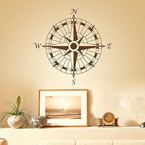 Complete Compass Room Decor - Compass Nautical Modern Design Vinly Compass Rose Decal Compass Wall Sticker Nautical Wall Decor Wall Mural Wall Graphic Home Art Decor D(Brown)