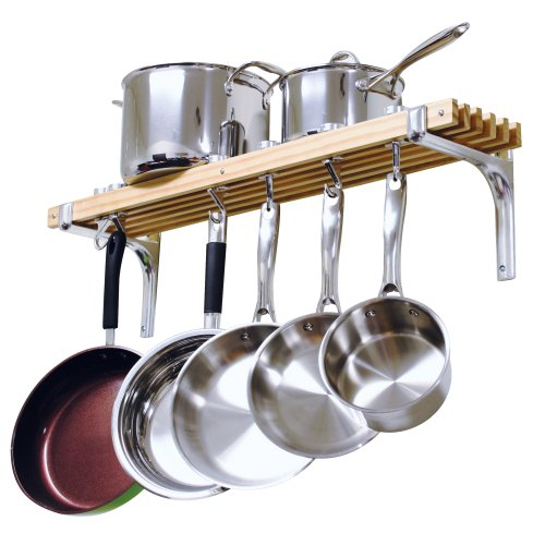 Ceiling Pot Rack Wood - Cooks Standard Wall Mounted Wooden Pot Rack, 36 by 8-Inch