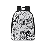 Custom Twitter Backgrounds Doodle Casual Backpack College School Bag Travel Daypack