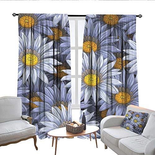 QianHe Blackout Curtains for Bedroom Pen and Ink Gerbera Daisy Flower Drapes Panels W72 x L72 (Beaded Pen Daisy)